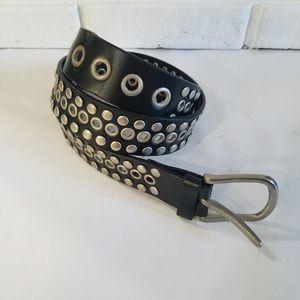 Volcom Genuine Leather Black Studded Belt 36